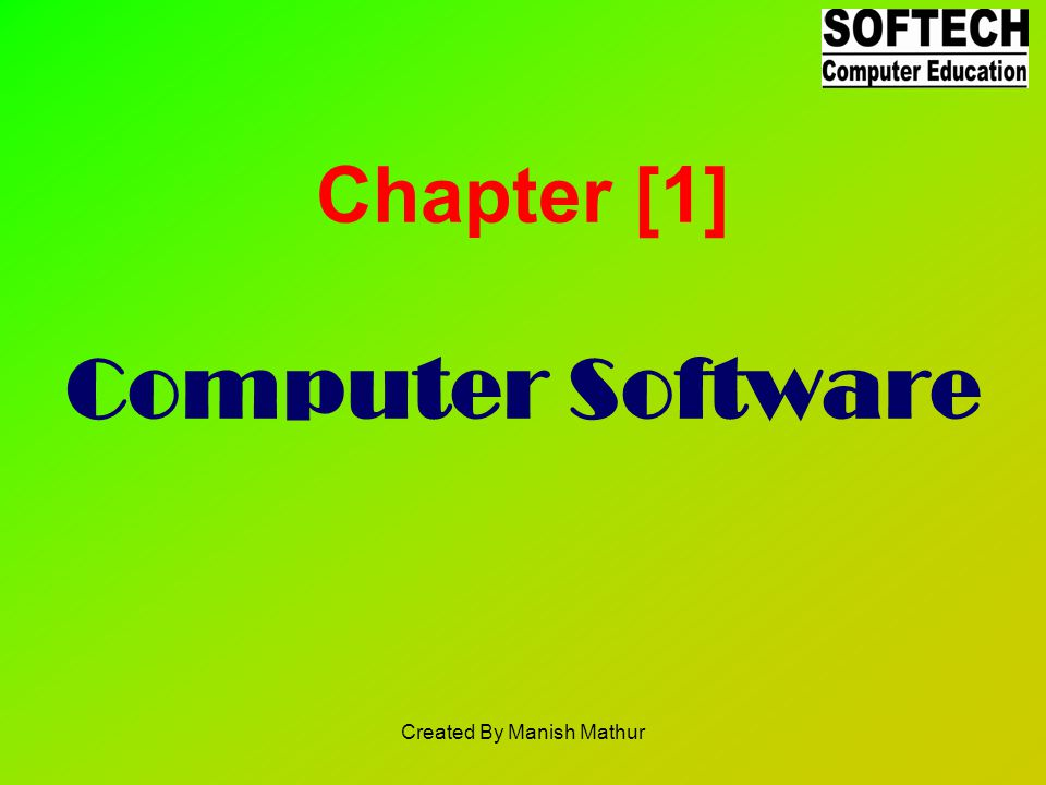 Chapter [1] Computer Software